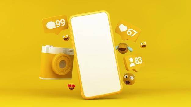 Gelbes smartphone mit social media-benachrichtigungen und emojis in 3d-rendering