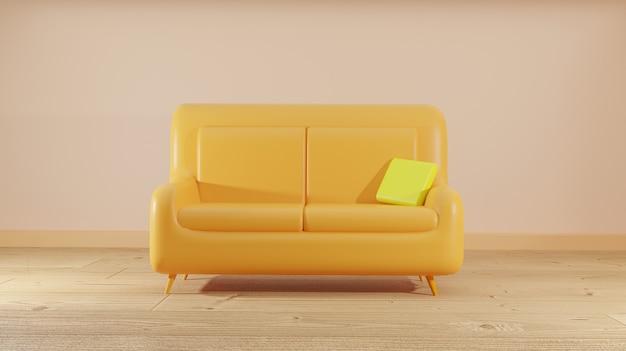 Gelbes sofa auf raum, 3d-wiedergabe