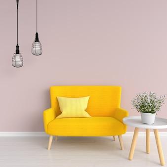 Gelbes sofa im rosa wohnzimmer, wiedergabe 3d