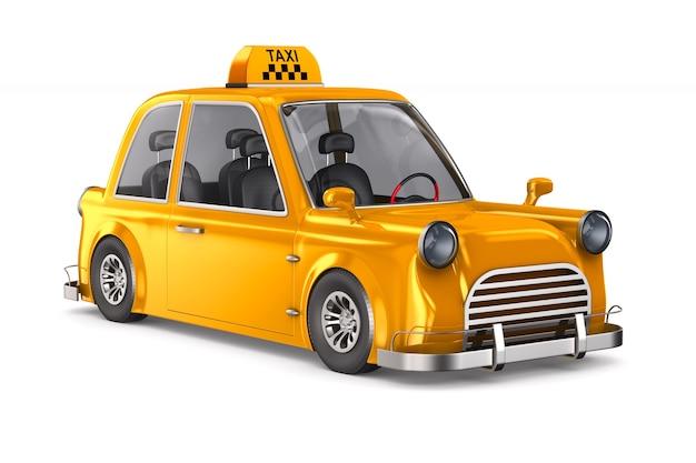 Gelbes taxi auf weißem raum