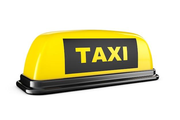Gelbes taxi-auto-dach-schild auf weißem hintergrund