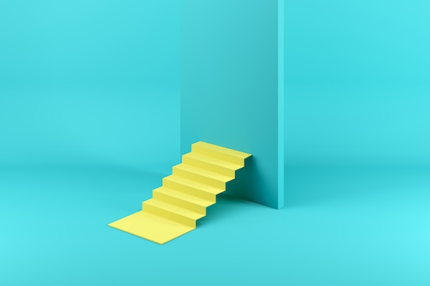 Gelbes treppenhaus blockiert durch eine blaue wand, die auf blau getrennt wird