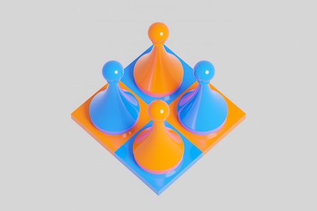 Gelbes und blaues schach der 3d illustration, dame auf einem schachbrett auf einem weißen hintergrund.