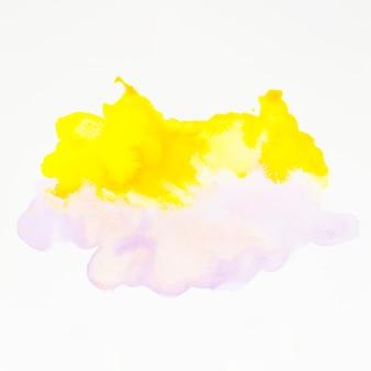 Gelbes und rosa aquarellspritzen auf weißem hintergrund