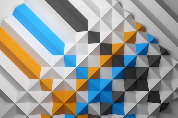 Gelbes, weißes und blaues muster der 3d-illustration im geometrischen zierstil. muster bodenmosaik