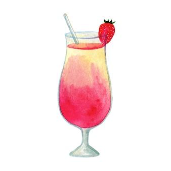 Gelbrosa cocktail mit erdbeere. hand gezeichnete aquarellillustration. isoliert.