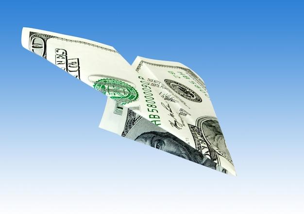 Geld flugzeug von dollar banknote