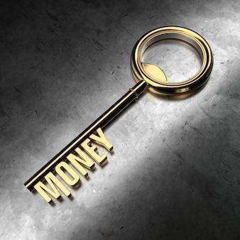 Geld - goldener schlüssel auf schwarzem metallischem hintergrund. 3d-rendering