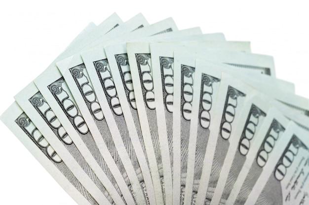 Geld nah oben auf weiß