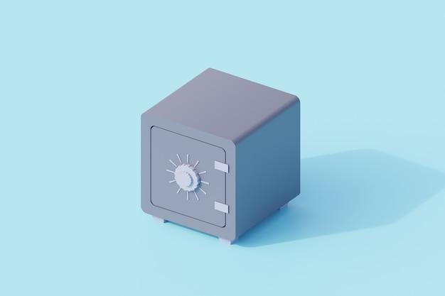 Geld safe oder tresor einzelnes isoliertes objekt. 3d-rendering