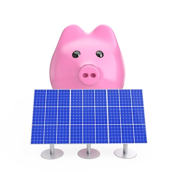 Geld sparen konzept. sparschwein mit blauen sonnenkollektoren auf weißem hintergrund. 3d-rendering.