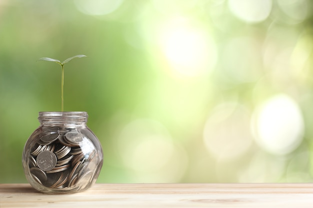 Geld und finanzkonzept, der geschäftsmann, der geld einsetzt, prägt