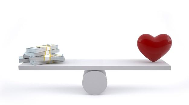 Geld und herz auf einer gleichgewichtsskala.