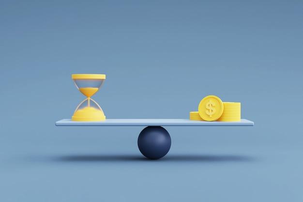 Geld und sanduhr auf einer waage