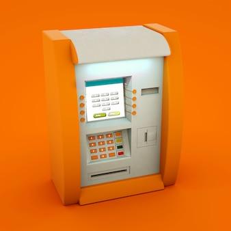 Geldautomat der geldautomatenbank isoliert auf orangefarbenem hintergrund. 3d illustration.