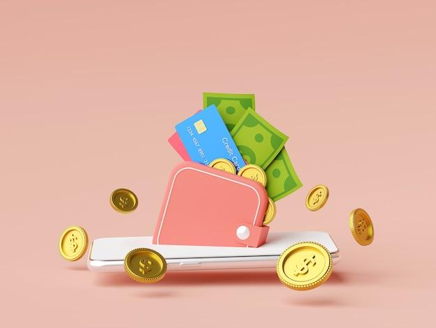 Geldbörse auf mobile anwendung, geldzahlung und überweisung online 3d-illustration