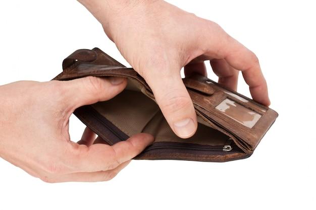 Geldbörse in der hand isoliert