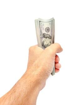 Gelddollar in den händen auf einem weißen hintergrund