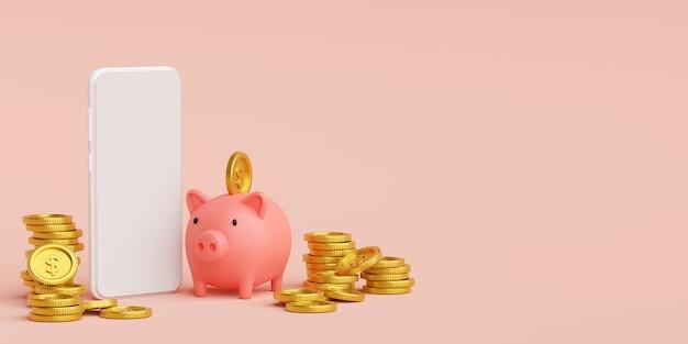 Geldersparnis und investition auf handy, 3d-rendering