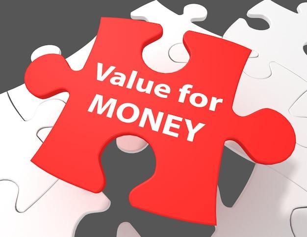 Geldkonzept: preis-leistungs-verhältnis auf weißem hintergrund mit puzzleteilen, 3d-rendering