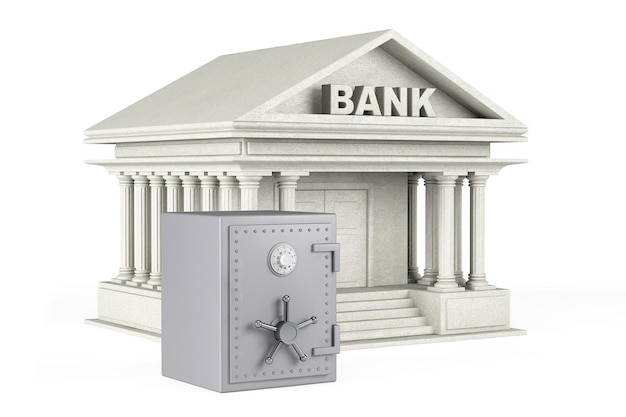 Geldkonzept schützen. metallsafe und bankgebäude auf weißem hintergrund