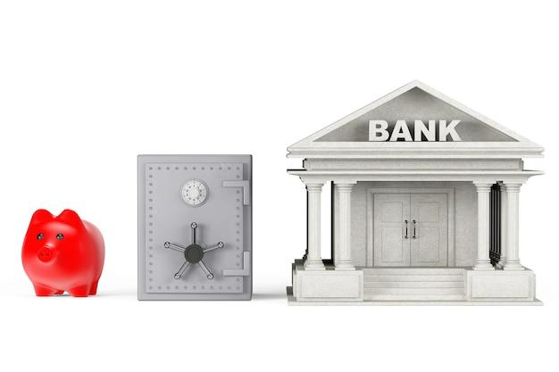 Geldkonzept schützen. sparschwein, safe und bankgebäude auf weißem hintergrund