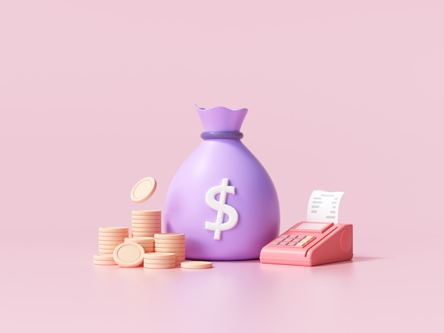 Geldsparendes konzept. geldsack, münzstapel und pos terminal auf rosa hintergrund. 3d-renderillustration