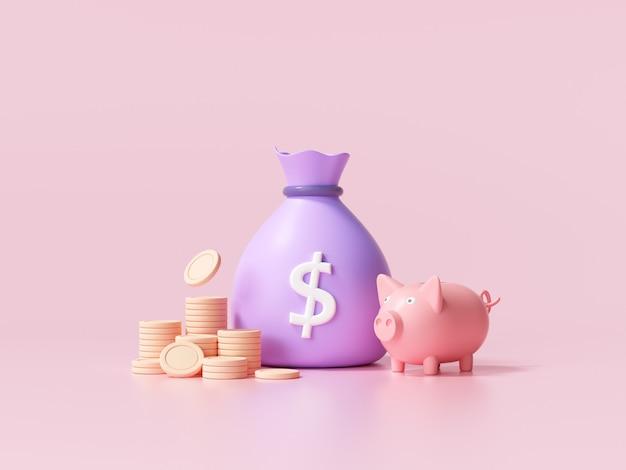 Geldsparendes konzept. geldsack, münzstapel und sparschwein auf rosa hintergrund. 3d-renderillustration