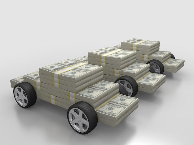 Geldstapel mit rädern, auto für bargeldkonzept. 3d-rendering