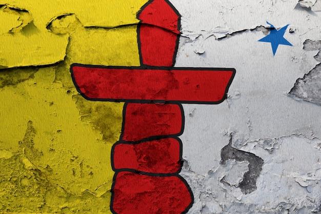 Gemalte nationalflagge von nunavut auf einer betonmauer