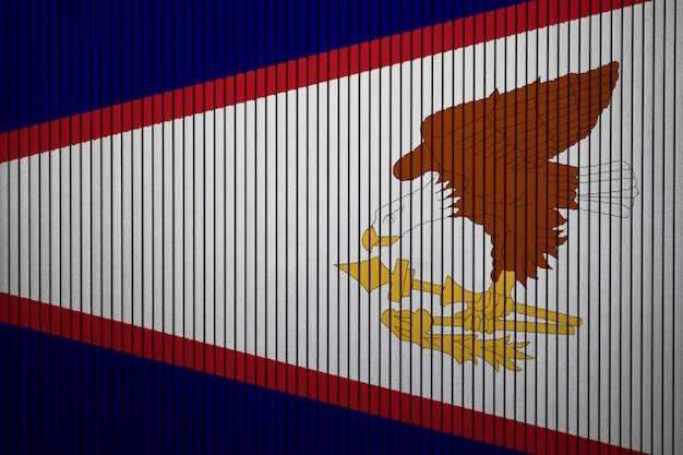 Gemalte staatsflagge von amerikanisch-samoa auf einer betonmauer