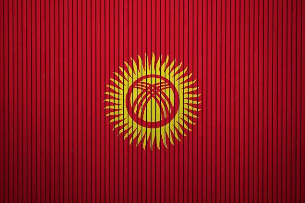 Gemalte staatsflagge von kirgisistan auf einer betonmauer