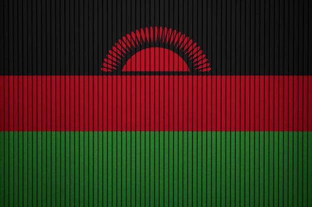 Gemalte staatsflagge von malawi auf einer betonmauer