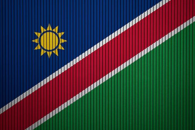 Gemalte staatsflagge von namibia auf einer betonmauer