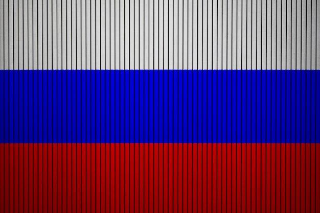 Gemalte staatsflagge von russland auf einer betonmauer