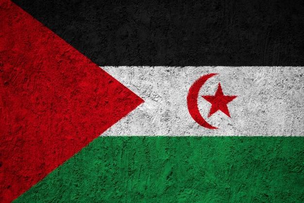 Gemalte staatsflagge von sahrawi arabische demokratische republik auf einer betonmauer