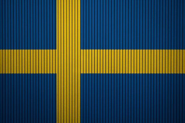 Gemalte staatsflagge von schweden auf einer betonmauer