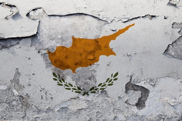 Gemalte staatsflagge von zypern auf einer betonmauer