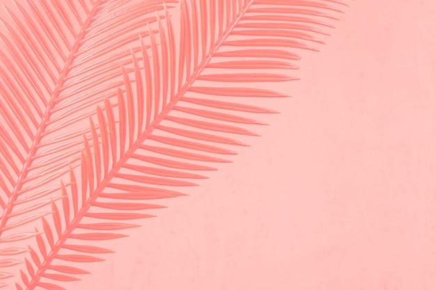 Gemalte zwei palmblätter gegen korallenroten hintergrund