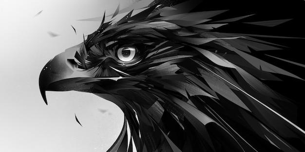Gemalter abstrakter designer monochromporträt adler vogelkopf