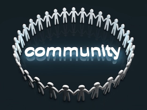 Gemeinschaftskonzept. eine gruppe von ikonenmenschen, die in einem kreis stehen.