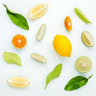 Gemischte frische zitrusfrüchte und blätter hintergrund.