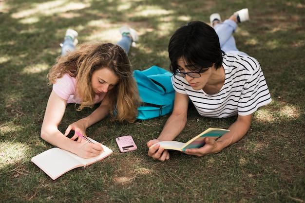 Gemischtrassiger teenager, der auf gras im park studiert