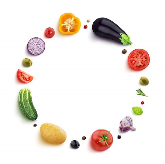 Gemüse getrennt auf weiß in einem runden feld