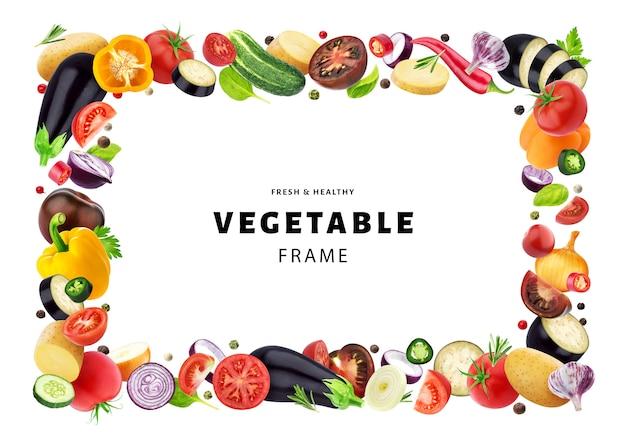 Gemüse lokalisiert auf weißem hintergrund, rahmen gemacht vom verschiedenen fliegengemüse, von den kräutern und von den gewürzen, mit kopienraum