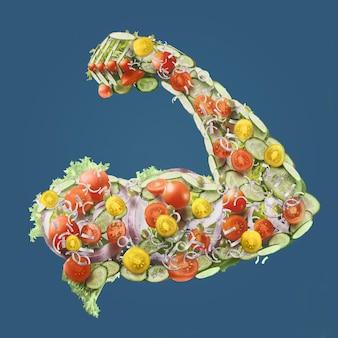 Gemüse mit großer muskulöser mannhand in der blauen oberfläche