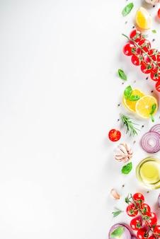 Gemüse und kräuter zum kochen, draufsicht