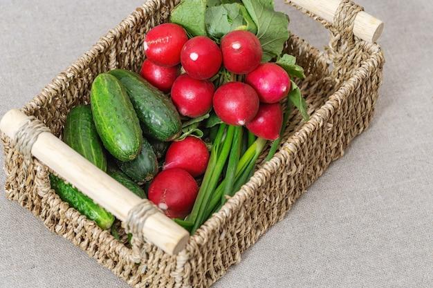 Gemüsekorb mit frischen rettichen, gurken, frühlingszwiebeln für salat
