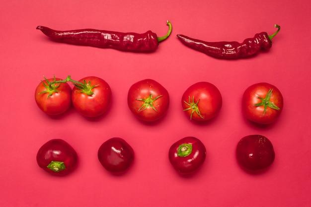 Gemüsepaprika, roter grüner pfeffer, reife tomaten, frisches rotes gemüse auf einem bunten hintergrund, draufsicht