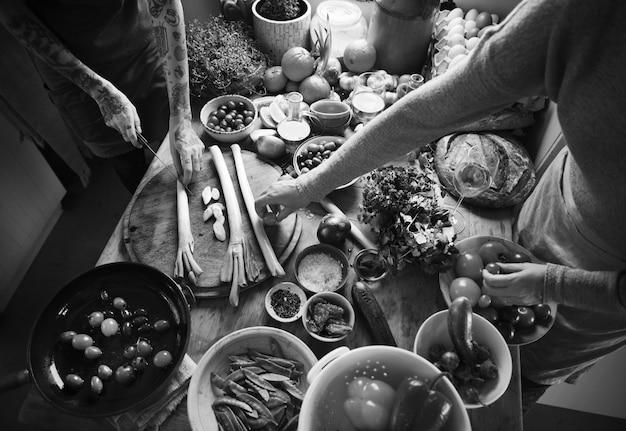Gemüsezubereitungslebensmittelphotographie-rezeptidee
